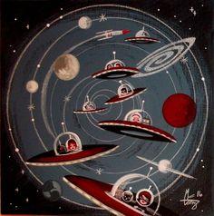 Available Works - El Gato Gomez Art Retro Kunst, Retro Art, Ufo, Space Artwork, Cosmic Art, Retro Robot, Space Illustration, Ligne Claire, Vintage Space