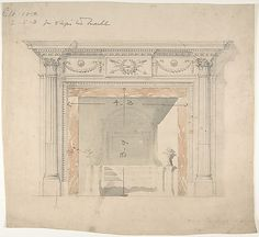 Design for an Adam-style Mantel, with a Marble Surround and Iron Firebox Anonymous, British, late 18th to early 19th century