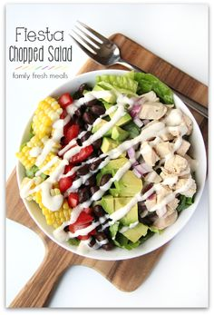 """My girls refer to this as """"The Rainbow Bowl!"""" Looks at all the fresh colors represented in this Fiesta Chopped Salad. Fresh eating could't be easier!"""