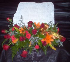 Memory Stone with Flowers Roses, lillies, carnations