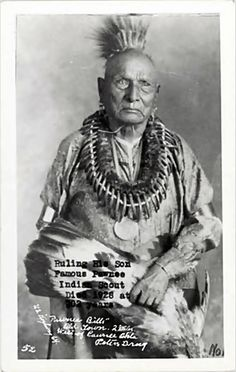 "Ruling His Son, famous Pawnee Indian scout; Died 1928 at 102 years. ""Pawnee Bills"" Old Town. 2 Miles West of Pawnee Okla. (Oklahoma)"