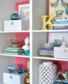 Painting colour on back of bookshelf makes things pop