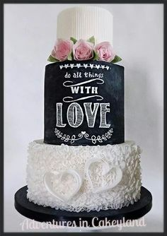 Wafer paper ruffles and chalkboard cake Beautiful Wedding Cakes, Gorgeous Cakes, Pretty Cakes, Amazing Cakes, Cupcake Torte, Cupcakes, Bolo Chalkboard, Chalkboard Wedding, Wafer Paper Cake