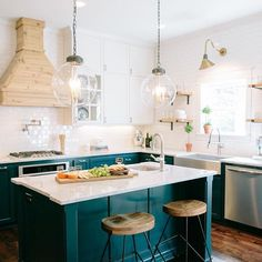 The kitchen in last week's Fixer Upper was one of our favorites! The white subway tile creates a neutral backdrop for the bold navy lower cabinets and is brought full circle by tying in the raw wood accents. Make sure you catch an all new episode tonight at 8CT on HGTV! #fixerupper #newepisode