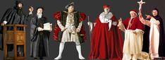 Image of John Knox, Henry VIII, Cardinal Wolsey, Pope Leo X and Savonarola