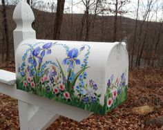 Items similar to Hand Painted Mailbox  (( Extra Large Size)) with  Purple IRIS & WILDFLOWERS  Outdoor Decor on Etsy