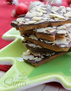 This English Toffee is a rich buttery-caramel candy topped with chocolate and nuts and a Christmas tradition in my family.