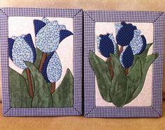 Conjunto de quadros tulipas azuis