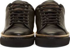 Alexander McQueen Black Leather Gold Zipper Trim Low-Top Sneakers
