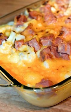 "Double Click Slowly on Pic for Recipe....HAM ""MOCK MAC"" AND CHEESE CASSEROLE  .... by George Stella ...visit us at ""Low Carbing Among Friends"" on Facebook"