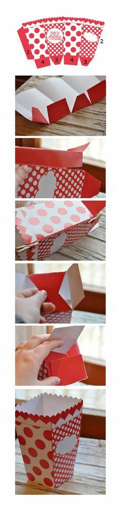 printable pop corn box template - freebie                                                                                                                                                                                 More