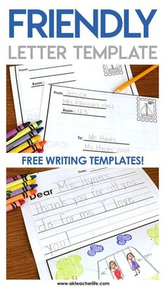 Friendly Letter Writing Paper FREE friendly letter writing templates for primary students. Several writing paper options! The post Friendly Letter Writing Paper appeared first on Paper Diy. Letter Writing For Kids, Letter Template For Kids, Letter Writing Template, 1st Grade Writing, Letters For Kids, Writing Classes, Kindergarten Writing, Writing Lessons, Teaching Writing