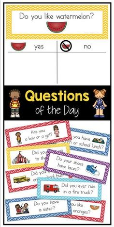 100 questions of the day- students sign their name under their answer - perfect for attendance or graphing in preschool, kindergarten or first grade!