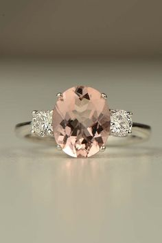 Hand made 18ct white gold Morganite and diamond ring