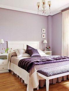 Dormitorio decorado y pintado en color lavanda Purple Bedroom Walls, Purple Bedroom Design, Purple Bedrooms, Bedroom Wall Colors, Bedroom Color Schemes, Small Room Bedroom, Room Ideas Bedroom, Lilac Walls, Bedroom Retreat