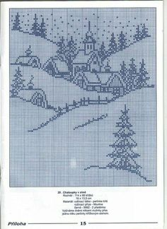 Crochet Christmas Village Winter Scenes Ideas For 2019 Xmas Cross Stitch, Counted Cross Stitch Patterns, Cross Stitch Charts, Cross Stitch Designs, Cross Stitching, Cross Stitch Embroidery, Embroidery Patterns, Cross Stitch Landscape, Christmas Embroidery