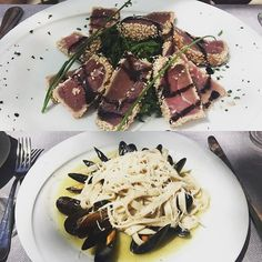 Lunching in Rome delicious tuna and pasta - the Italians eat right #santaluciarome #rome #pasta #tuna #lunching #alfrescodining