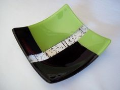 Lime Green and Black Fused Glass Dish by SunflowerGlassworks.  Really like the proportions of the design.