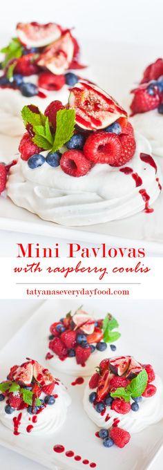 Mini Fruit Pavlovas with fresh fruit and raspberry coulis ~ Tatyana's Everyday Food