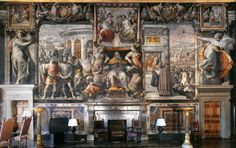 Most Farnese palaces have a Sala dei Fasti Farnesiani to celebrate the family's most glorious moments.  This version in the Palazzo Farnese in Rome was painted in the 1550s by Francesco Salviati.  Compare it with the Zuccari one in Caprarola also this board.