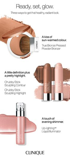 How to get a radiant look: Use bronzer for sun-warmed color. Contour and highlight for a little definition. Add illuminator or highlighter for evening shimmer.