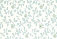 Flowerdene (BW45046/2) - G P & J Baker Wallpapers - A pretty small scale floral trail with a hand drawn distressed paint look. Shown here in aqua and ivory. Other colourways are available. Please request a sample for a true colour match. Pattern repeat is 18cm. Paste-the-wall product.
