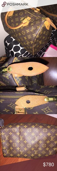 💯 Authentic Louis Vuitton Speedy 30 (EXTRA PICS) (SEE ORIGINAL LISTING) authentic speedy 30. Was a gift from my aunt but I don't use it, only for special occasions so it stays in storage with a pillow to keep its shape. In great condition. Any flaws are pictured above. Comes with key & lock, free of rust! Also will ship LV shopping bag. Piping & zipper are great. Handles darkened into gorgeous honey shade 🍯! Smoke/pet free house 🚫.Has slight pen ink stain inside but other than that its…