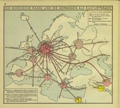 1938 Nazi school map, claiming all major civilizations originate from Germany #map #ww2 #germany