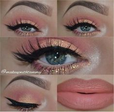 Pfirsich Mandarine Orange Rouge goldenes Augen-Make-up von Tammy Jansky Eye Makeup Orange Golden Eye Makeup, Dark Eye Makeup, Dramatic Eye Makeup, Eye Makeup Art, Glitter Eye Makeup, Colorful Eye Makeup, Natural Eye Makeup, Smokey Eye Makeup, Glitter Lips