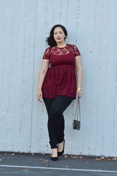 Curvy Girl Fashion -Burgundy Lace {Wearing} Forever 21 Lace Dress / Old Navy Skinnies / Vintage Earrings & Rings / Bangles from India / BCBG Box Clutch) / Enzo Angilioni Pumps