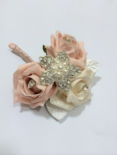 Ladies Brooch CorsageWedding Corsage Peach by Lovefromlilywedding, £13.10