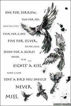 This rhyme is one of many reasons I fell in love with crows. One for Sorrow is a traditional children's nursery rhyme about magpies. According to an old superstition, the number of magpies one sees determines if one will have bad luck or not. Writing Advice, Writing Help, Writing A Book, Writing Prompts, Story Inspiration, Writing Inspiration, Poem Quotes, Life Quotes, One For Sorrow