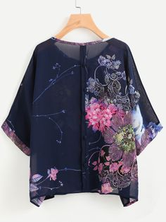 Floral Print Button Back Chiffon Blouse -SheIn(Sheinside)