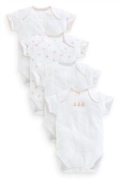 Next Four Pack Girls' Short Sleeve Bodysuits (0-18mths)