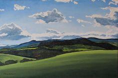 "Art Original Oil Painting Landscape Cloud Fournier Canada Appalachian Quebec ""The Yellow Light"" 24"" x 36"""
