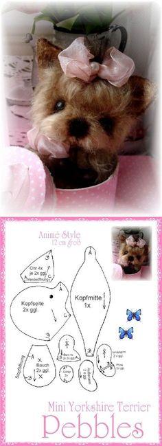 Yorki. Выкройка Fabric Animals, Felt Animals, Cute Animals, Sewing Stuffed Animals, Stuffed Animal Patterns, Plush Pattern, Dog Pattern, How To Make Toys, Bear Doll