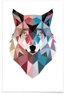 Geo Wolf - DinoMike - Premium poster