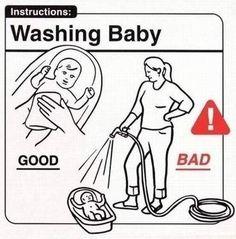 Washing Baby    babies,funny,humor,cartoon,family,parenting
