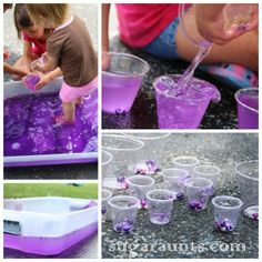 Lavender Water Bin: pouring and transferring water activity for toddlers