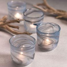S/6 Alabaster Glass Cup Tealight and Votive Holder
