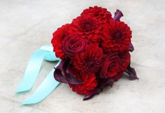 Red Bouquet with a touch of turquoise