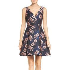 Women's Betsey Johnson Metallic Jacquard Fit & Flare Dress ($158) ❤ liked on Polyvore featuring dresses, betsey johnson, flower dress, blossom dress, jacquard dress and fit flare dress