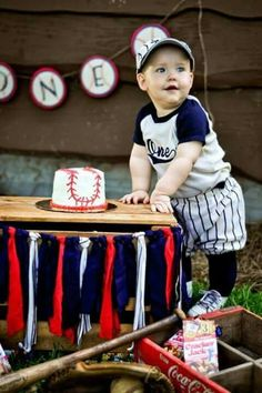 Vintage Baseball Party Birthday Baby Boy First