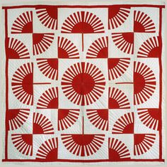 Red and white quilt circa 1900, fan pattern, The Metropolitan Museum of Art