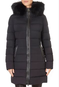 This is the stunning 'Calla' Black Down Puffer Coat With Fur Trim Hood from our friends at Mackage! Winter Coats Women, Winter Jackets, Puffer Coat With Fur, Black Down, Green Shorts, Khaki Green, Down Coat, Fur Trim, Silhouette