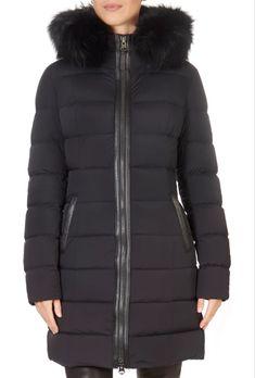 'Calla X' Black Down Puffer Coat With Fur Trim Hood | Jessimara