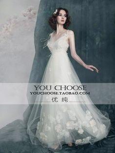 2012婚纱礼服高级定制吊带型冬款小拖尾婚纱礼服甜美时尚欧式婚纱-淘宝网