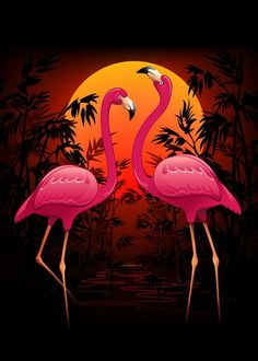 Best 11 Pink Flamingos on Peaceful Tropical Sunset Pink Flamingos on Peaceful Tropical Sunset Gallery quality print on thick / metal plate. Each Displate print verified by the Production Master. Signature and hologram added to the back of each p Flamingo Painting, Flamingo Art, Pink Flamingos, Flamingo Wallpaper, Krishna Art, Nature Pictures, Bird Art, Art Techniques, Beautiful Birds