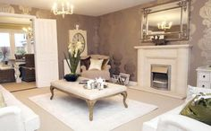 David Wilson Homes in Worcestershire. Fabulous luxurious and elegant living room in a French style with foiled wallpaper in mauve - double doors opening up to a beautiful French dining room. I love the watch / clock on the wall. Elegant Living Room, New Living Room, Living Room Decor, Mauve Living Room, Living Area, Lounges, David Wilson Homes, Luxury Dining Room, Piece A Vivre
