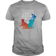Awesome Tee Every patient leaves a footprint on my heart Veterinary Tshirt T shirts